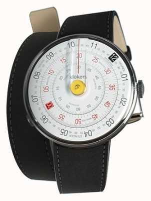 Klokers Klok 01 желтый циферблат часов черный двойной ремешок KLOK-01-D1+KLINK-02-380C2