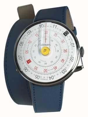 Klokers Klok 01 желтая головка для часов индиго синий двойной ремешок KLOK-01-D1+KLINK-02-380C3