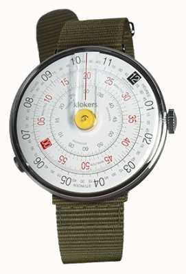 Klokers Klok 01 желтая головка часов лишайник зеленый текстильный одиночный ремешок KLOK-01-D1+KLINK-03-MC2