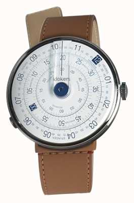 Klokers Klok 01 синяя головка часов карамель коричневый пролив одиночный ремешок KLOK-01-D4.1+KLINK-04-LC12