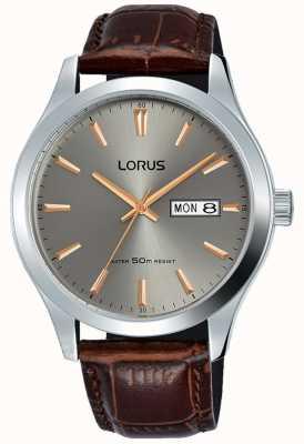 Lorus Корпус из нержавеющей стали с коричневым кожаным ремешком RXN61DX9