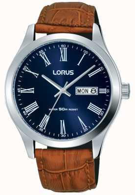 Lorus Коричневый кожаный ремешок темно-синий дата набора даты и дня RXN55DX9