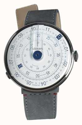 Klokers Klok 01 синяя головка часов серый алькантара пролив одиночный ремешок KLOK-01-D4.1+KLINK-04-LC11