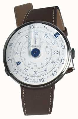 Klokers Klok 01 синяя часовая головка шоколадно-коричневый однорядный ремешок KLOK-01-D4.1+KLINK-01-MC4