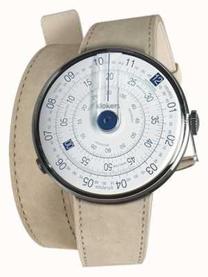 Klokers Klok 01 синяя головка часов серый алькантара двойной ремешок KLOK-01-D4.1+KLINK-02-380C6