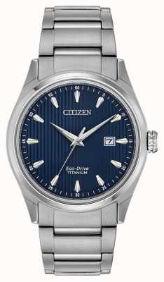 Citizen Мужской синий циферблат серебряного тона, супер титановый браслет BM7360-82L