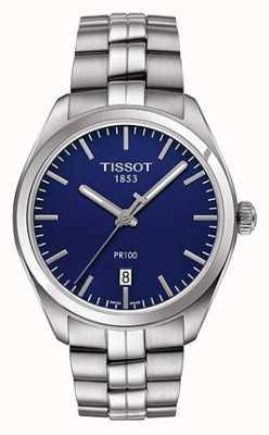 Tissot Мужской браслет из нержавеющей стали pr100 синий циферблат T1014101104100