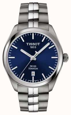 Tissot Mens pr100 титановый синий циферблат кварцевый T1014104404100