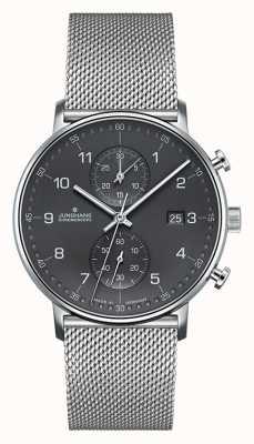 Junghans Мужская форма с серебряным сетчатым ремешком хронографа 041/4877.44