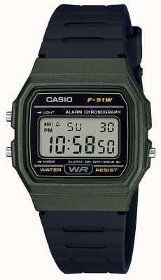 Casio Сигнальный хронограф, зеленый и черный корпус F-91WM-3AEF