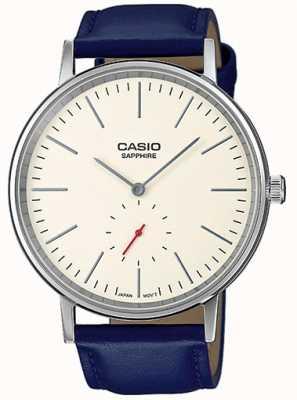 Casio Сапфировое кремовое кремовое циферблатное синее платье из натуральной кожи LTP-E148L-7AEF