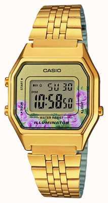 Casio Иллюминатор золотой pvd покрынный флористический циферблат LA680WEGA-4CEF
