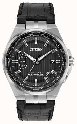 Citizen Мужской мир вечный на черном циферблате черный кожаный ремешок CB0160-00E