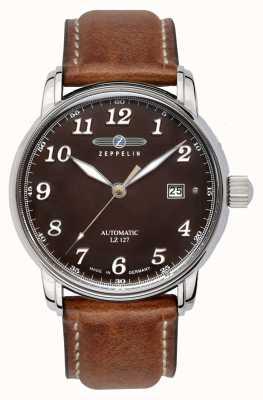 Zeppelin | серия lz127 | автоматическая дата | коричневый кожаный ремешок | 8656-3
