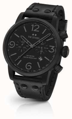 TW Steel Маверик калибр хронограф черный кожаный ремешок черный циферблат MS114