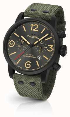 TW Steel Маверик калибр хронограф зеленый холст ремешок черный циферблат MS124
