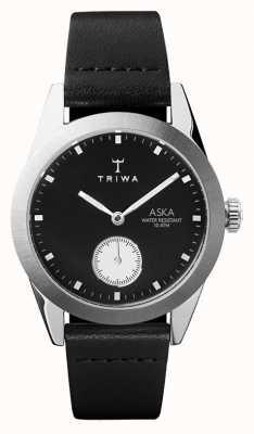 Triwa Slate aska черный циферблат из нержавеющей стали чёрная кожа AKST107-SS010212