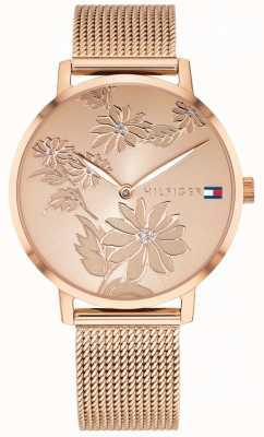 Tommy Hilfiger Pippa rose gold цветочный принт циферблат розовый золотой кейс & сетка 1781922