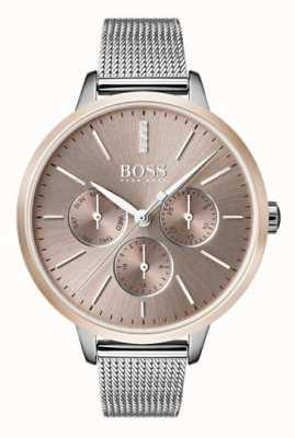 Hugo Boss Черный симфония день & дата дисплей розовый золотой чехол сетчатый ремешок 1502423