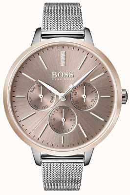 Boss Черный симфонический день и дата с сетчатым ремешком из розового золота 1502423