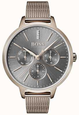 Hugo Boss Симфония серый набор день и дата сетчатый ремень 1502424