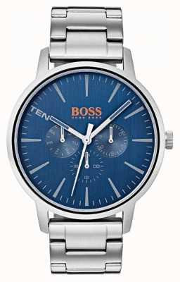 Hugo Boss Orange Синий циферблат и дата показывают браслет из нержавеющей стали 1550067