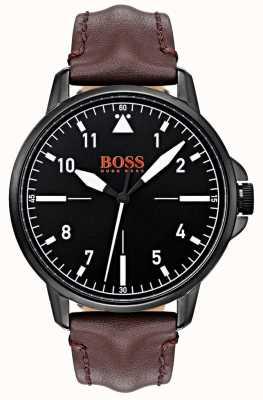 Hugo Boss Orange Черный циферблат темно-коричневый кожаный ремешок черный ip-чехол 1550062