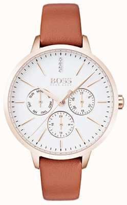 Boss Белый циферблат с изображением дня и даты, корпус из розового золота, коричневая кожа 1502420