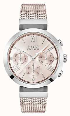 Boss Хронограф розовый циферблат день и дата вспомогательные циферблаты 1502426