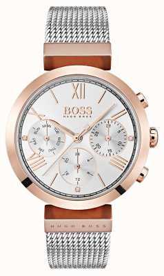 Hugo Boss Серебряный циферблат и дисплей даты римские цифры сетчатый браслет 1502427