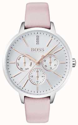 BOSS Серебряный циферблат день и дата суб-набор кристалл розовая кожа 1502419