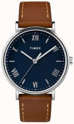 Timex Mens southview 41mm коричневый кожаный ремешок синий циферблат TW2R63900D7PF