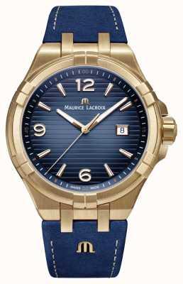 Maurice Lacroix Mens aikon ограниченный выпуск бронзовый чехол синего теленка AI1028-BRZ01-420-1