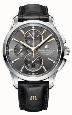 Maurice Lacroix Коричневый кожаный ремешок коричневого цвета PT6388-SS001-331-1