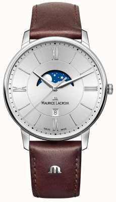 Maurice Lacroix Mens eliros moonphase коричневый кожаный ремешок серебристый циферблат EL1108-SS001-110-1