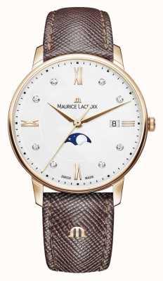 Maurice Lacroix Eliros moonphase коричневый кожаный ремешок розовое золото EL1096-PVP01-150-1