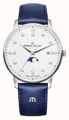 Maurice Lacroix Eliros moonphase синий кожаный ремешок серебристый циферблат EL1096-SS001-150-1