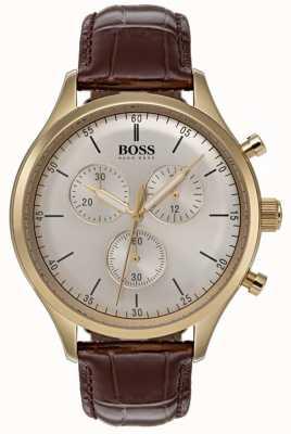 Boss Мужские часы-компаньон с коричневым кожаным ремешком 1513545