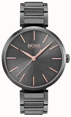 Hugo Boss Женская аллюзия часы черного железа покрытием стали 1502416