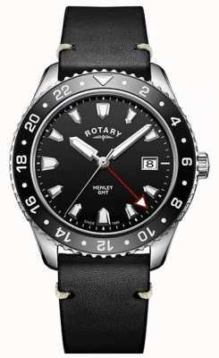 Rotary Mens henley gmt черный кожаный ремешок черный циферблат GS05108/04