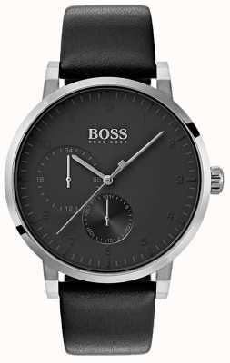 Boss Мужские кислородные черные часы с кожаным ремешком 1513594