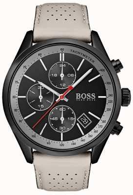 Boss Мужские часы Гран-при, черный хронограф, серый кожаный ремешок 1513562