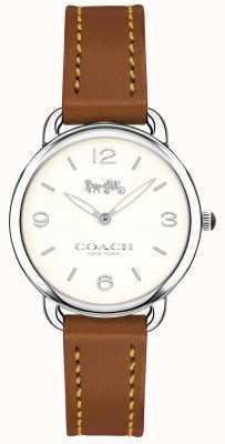 Coach Женщин delancey тонкий коричневый кожаный ремешок смотреть белый циферблат 14502789