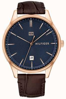 Tommy Hilfiger Мужские часы damon коричневый кожаный ремешок синий циферблат 1791493