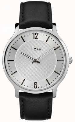 Timex Mens slim skyline 40mm серебряный тональный чехол черный кожаный ремешок TW2R50000