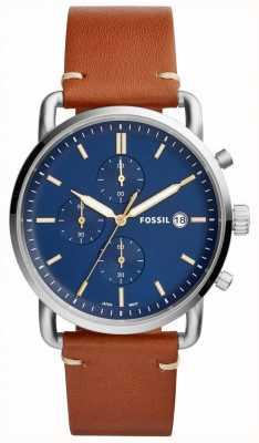 Fossil Мужские пригородные часы синий хронограф загар кожаный ремешок FS5401
