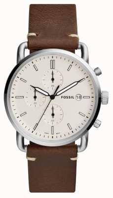 Fossil Мужские пригородные часы белый хронограф коричневый кожаный ремешок FS5402