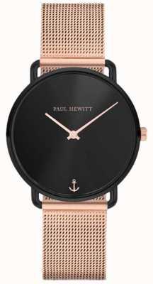 Paul Hewitt Unisex Miss Ocean Line 32мм черный циферблат розового золота сетка PH-M-B-BS-4S