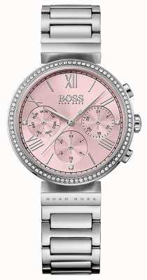 Boss Розовый циферблат с кристаллом и рамкой из нержавеющей стали 1502401