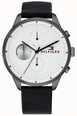 Tommy Hilfiger Мужская погоня хронограф черный кожаный браслет белый циферблат 1791489